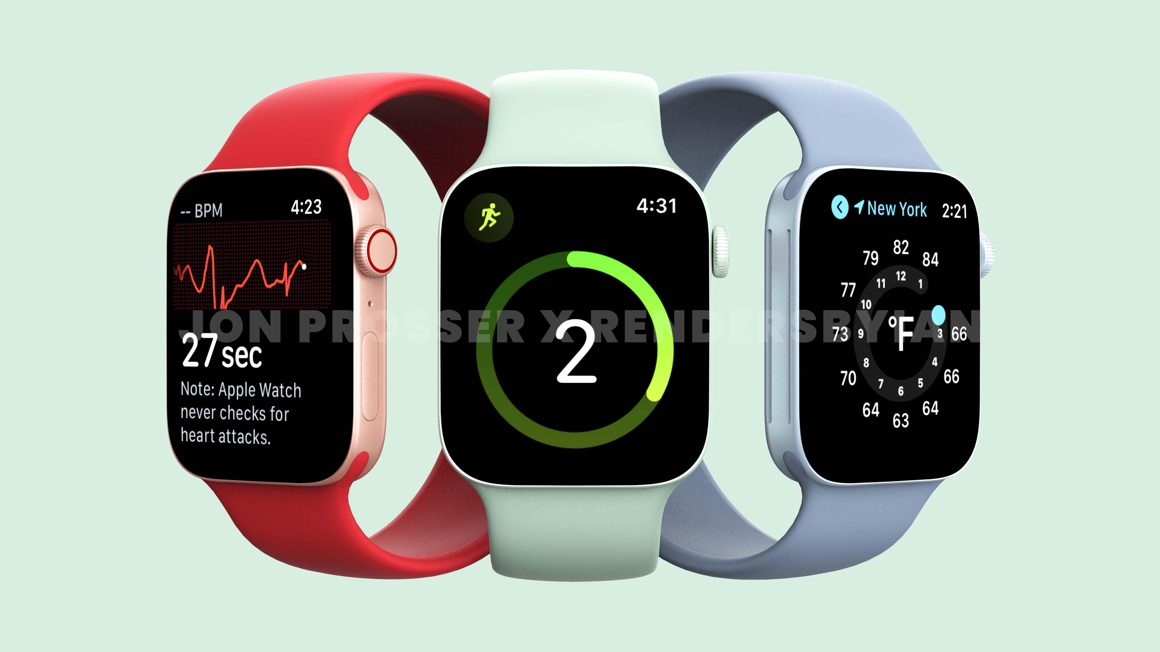 Apple Watch Series 7 появились на качественных рендерах с дизайном, как у iPhone 12