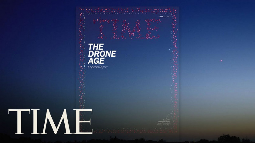 Time сделал 100-метровую обложку из 958 дронов Intel (видео)