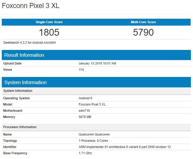 Google Pixel 3 XL Lite in Geekbench.jpg