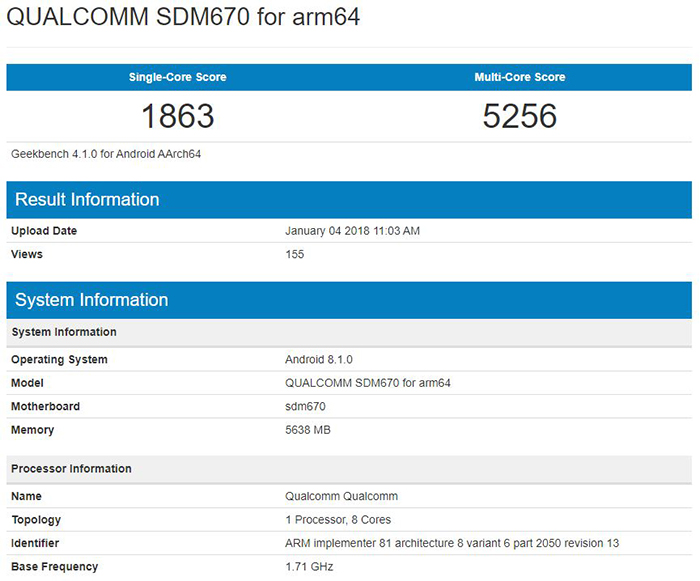 SoC Qualcomm Snapdragon 670 geekbench.JPG