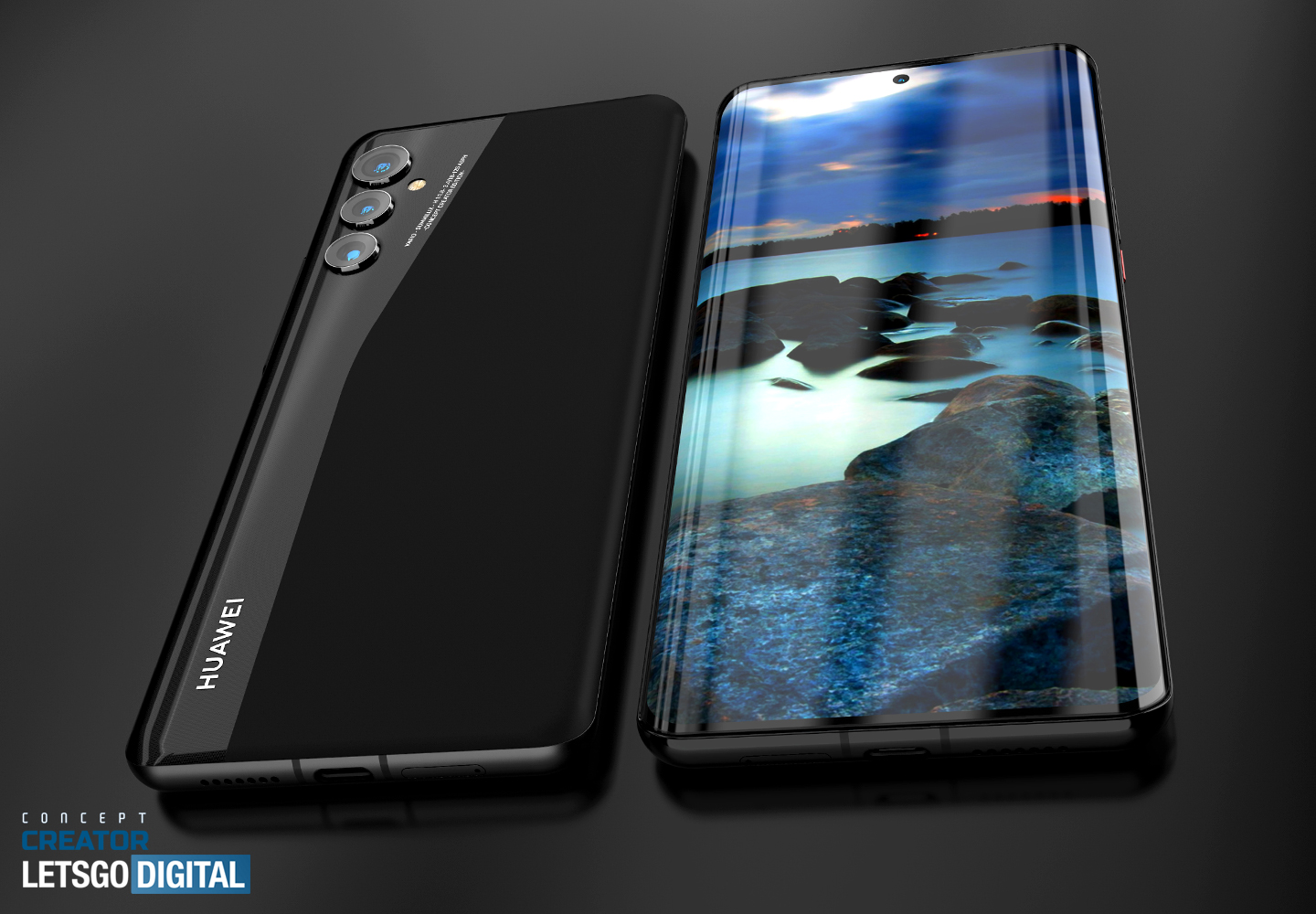Huawei P50 Pro on renders: a screen without a dual front camera, rounded edges and several designs of the main camera